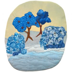 Blue trees and bushes collage