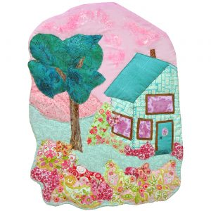 Mint green house and pink sky collage
