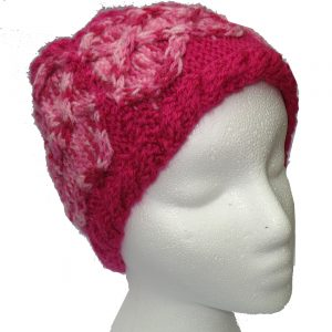Bright Pink Hand Knit Hat with Multicolor Pink Cable