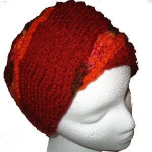 Red Hand Knit Hat with Orange Spiral