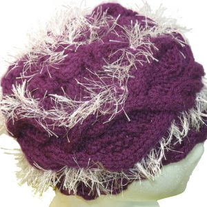Purple Hat with Pink Fringe