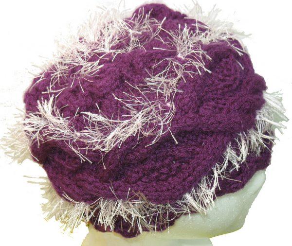 Purple Hat with Pink Fringe