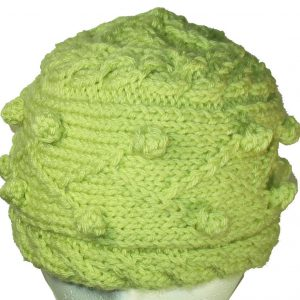 Spring Green Bobble Knit Hat
