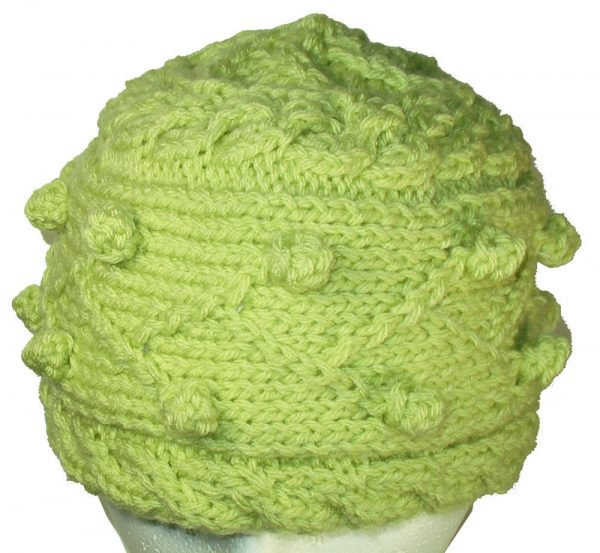 Spring Green Bobble Knit Hat