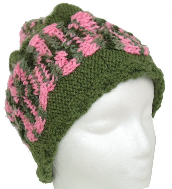 Green Hat with pink/green cable