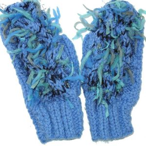 Funky blue knit mittens